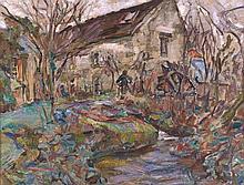 Mania MAVRO 1889 -1969 MAISON Huile sur toile