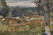 Jacques CHAPIRO 1887 - 1972 FEMME DANS UN PAYSAGE - 1936 Huile sur toile