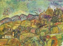 Pinchus KREMEGNE 1890 - 1981 PAYSAGE DE CERET Huile sur toile
