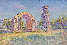 Louis Joseph GAIDAN 1847 - 1925 SAINT-REMY-DE-PROVENCE, L'ARC DE TRIOMPHE ROMAIN Huile sur panneau