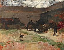 René PRINCETEAU 1843 - 1914 ATTELAGE DE BOEUFS Huile sur toile