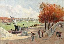 Maximilien LUCE 1858 - 1941 LES QUAIS DE LA SEINE A PARIS (QUAI MALAQUAIS) - 1934 Huile sur toile