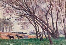 Maximilien LUCE 1858 - 1941 ATTELAGE DANS LE CHAMP EN BORD DE LOIRE A SAINT-AY - Circa 1915 Huile sur papier marouflé sur toile