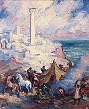 Georges d' ESPAGNAT 1870 - 1950 CAMPEMENT DANS LES RUINES ROMAINES Huile sur toile