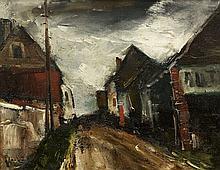 Maurice de VLAMINCK 1876 - 1958 GARAGE DANS UNE RUE DE VILLAGE - 1953 Huile sur panneau d'Isorel