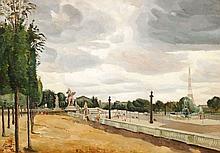 Edmond CERIA 1884 - 1955 ENSEMBLE DE DEUX OEUVRES PARIS, LES JARDINS DES TUILERIES A LA CONCORDE