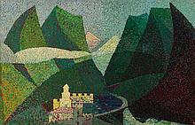 Maurice Ernest LEROUILLE XXème siècle PEINTURE MUSICALISTE SUR LUZ-SAINT-SAUVEUR, HAUTES PYRENEES - 1937 Huile sur toile