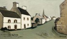 Robert HUMBLOT 1907 - 1962 RUE DE VILLAGE EN BRETAGNE Huile sur toile