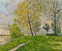 Maxime MAUFRA 1861 - 1918 AU BORD DE LA MARNE Huile sur toile