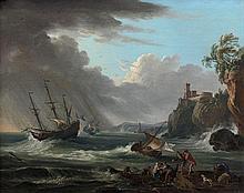 Jean-Baptiste Lallemand Dijon, 1716 - Paris, 1803 Débarcadère sur une côte rocheuse par mer agitée Huile sur toile