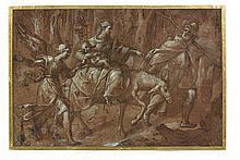 Attribué à Antonio Badile Vérone, vers 1518 - (?), 1560 La Fuite en Egypte Plume et encre brune, lavis brun, rehauts de gouache blan...