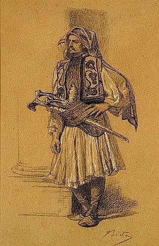ALEXANDRE BIDA 1823-1895 ARNAUTE Dessin au crayon et fusain sur papier