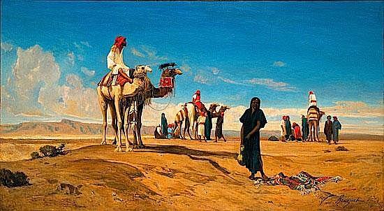 VICTOR HUGUET 1835-1902 HALTE DE BICHARIS DANS LE DESERT DE LYBIE Huile sur toile
