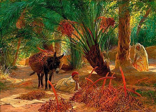 EUGENE GIRARDET 1853-1907 LA RECOLTE DES DATTES, CIRCA 1890 Huile sur toile