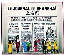 Le Lotus Bleu : Tintin, Milou et Tchang (sur le même socle), Mitsuhirato, Didi, Wang Jen-Ghié, Rastapopoulos, Dupont, Dupond
