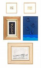 Paul-Armand GETTE (né en 1927) ENSEMBLE DE 5 OEUVRES 5,5 x 4 cm