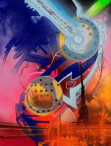 SHUCK ONE (né en 1970 -) VARIATION MECANIQUE, 2003 Peinture aérosol et acrylique sur toile