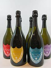 6 bouteilles 1 bt : CHAMPAGNE DOM PERIGNON 2000 Andy Warhol Tribute Collection (étiquette jaune)