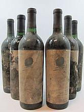 6 bouteilles 1 bt :  ETATS UNIS - OPUS ONE 1980 Mondavi (sans étiquette, capsule indiquant le millésime et la marque)