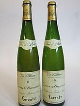 8 bouteilles ALSACE GEWURZTRAMINER 1998 (VT) Domaine Gustave Lorentz (étiquettes fanées)