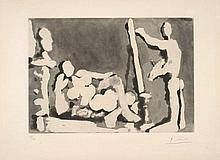 Pablo PICASSO (1881 - 1973) LE PEINTRE ET SON MODELE - 1964