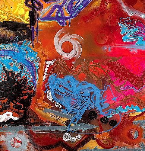 SHUCK ONE (né en 1970 -) ORGANES SCIENTIFIC'S, 2001 Acrylique et bombe aérosol sur toile...