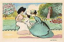 Kees VAN DONGEN 1877 - 1968 DANS LE PARC et LA RENCONTRE AU BOIS - circa 1950