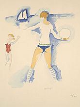 Kees VAN DONGEN 1877 - 1968 FEMME SUR LA PLAGE - 1966