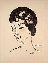 Kees VAN DONGEN 1877 - 1968 JEUNE FEMME LES YEUX BAISSES - circa 1929