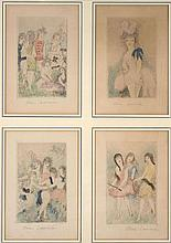 Marie LAURENCIN 1885 - 1956 LES DIX FILLES DANS UN PRE, 4 EAUX-FORTES - 1931