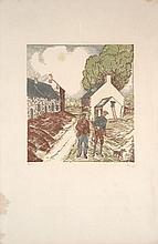 Jean-Emile LABOUREUR 1877 - 1943 DEPART POUR LA CHASSE - l'estampe et le dessin préparatoire - 1927