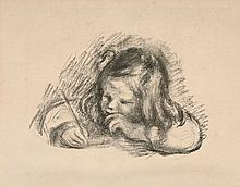 Pierre-Auguste RENOIR 1841 - 1919 CLAUDE RENOIR ECRIVANT - Circa 1914