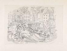 Raoul DUFY 1877 - 1953 NU COUCHE AUX PALMIERS AVEC FOND DE COTE D'AZUR - vers 1930