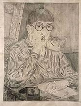 Léonard Tsuguharu FOUJITA 1886 - 1968 AUTUPORTRAIT AU CHAT - 1926