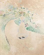 Jean-Louis FORAIN 1852 - 1931 FEMME AU PANIER DANS UN JARDIN - 1878 Aquarelle et encre sur papier