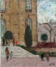 Georges d'ESPAGNAT 1870 - 1950 L'ENTREE DE L'HÔTEL DE BIRON (MUSEE RODIN) - Circa 1930 Huile sur toile