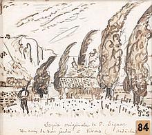 Paul SIGNAC 1863 - 1935 UN COIN DE JARDIN A VIVIERS (ARDECHE) Encre sépia et fusain sur papier