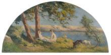Maximilien LUCE 1858 - 1941 ROLLEBOISE, SCENE CHAMPÊTRE Huile sur toile en forme d'éventail