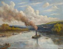 Maximilien LUCE 1858 - 1941 ROLLEBOISE, LA SEINE Huile sur toile