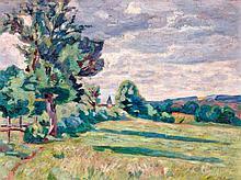 Armand GUILLAUMIN 1841 - 1927 PATURAGES DES GRANGES, CROZANT - 1914 Huile sur toile