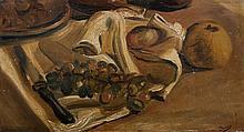 André DERAIN 1880 - 1954 FRUITS ET COUTEAU SUR UNE NAPPE - Circa 1924 Huile sur panneau
