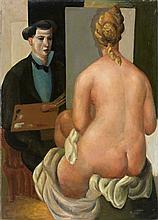 Roger BISSIERE 1886 - 1964 LE PEINTRE ET SON MODELE - 1921 Huile sur toile