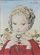 Léonard Tsuguharu FOUJITA 1886 - 1968 PETITE FILLE A LA CLEF - 1958 Huile et encre sur toile