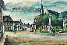 Maurice de VLAMINCK 1876 - 1958 PLACE DE VILLAGE Gouache et aquarelle sur papier