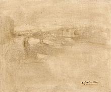 Eugène CARRIERE (1849 - 1906) PAYSAGE Huile sur toile