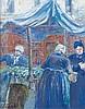 Emile-Othon FRIESZ (1879 - 1949) SCENE DE MARCHE A FALAISE - 1904 Gouache sur papier