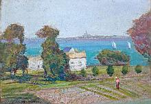Victor CHARRETON (1864 - 1936) PAYSAGE DE BORD DE MER Huile sur carton