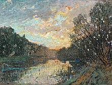 Pierre-Eugène MONTEZIN (1874 - 1946) BORD DE RIVIERE AU COUCHER DE SOLEIL Gouache et pastel sur papier marouflé sur toile