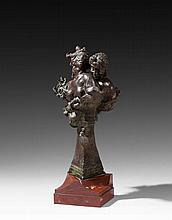 Emile-Antoine BOURDELLE (1861 - 1929) GROUPE DE RIEUSES OU RIRES ET ROSES - 1903 Bronze à patine brune nuancée verte sur une base en...