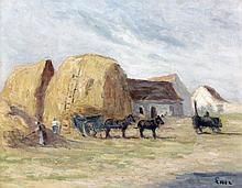 Maximilien LUCE (1858 - 1941) LE RETOUR DES FOINS Huile sur carton